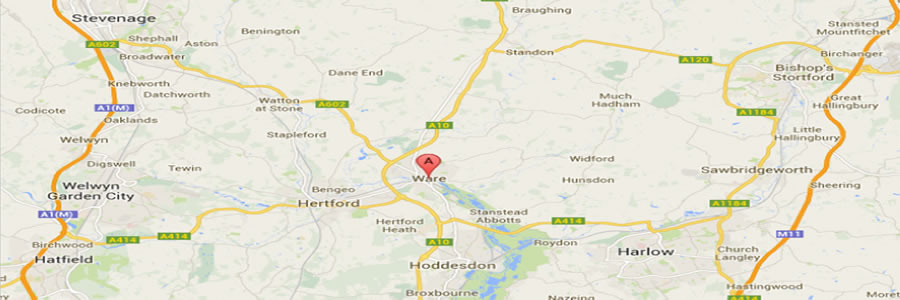 map showing hertfordshire area for oven cleaning